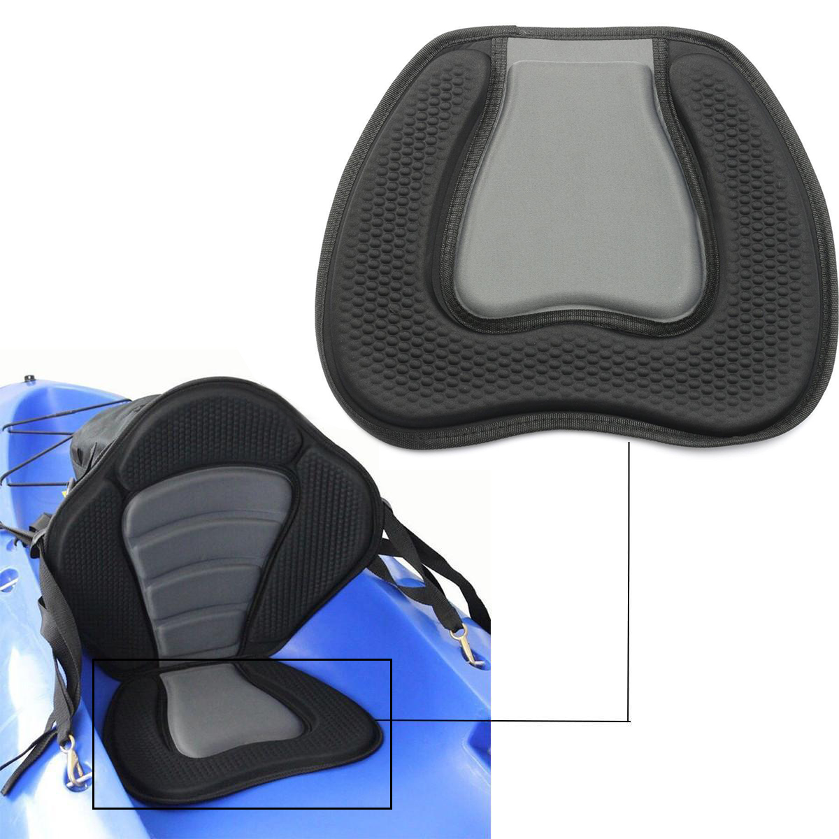 Mayitr 38x32cm Kayak Soft Seat Cushion Pad Canoe Fishing Boat Comfortable EVA Cushion Seat Padded Black For Boat