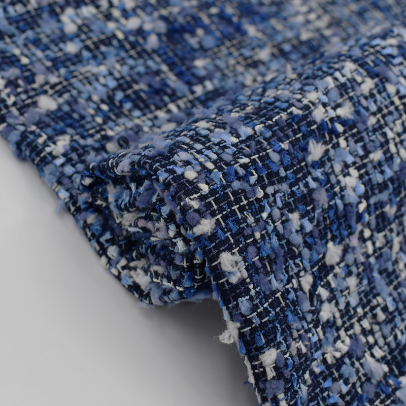 Blue Yarn Dyed Hot Sale Tweed Fabric Weaving Clothing