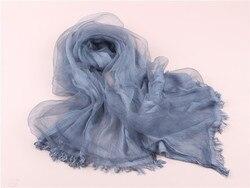2018 nuevo vintage mujer algodón + organza seda bufanda larga