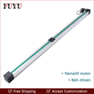 Free shipping high speed 1500mm belt drive linear guide rail Nema 34 stepper motor for cnc position router system(China)