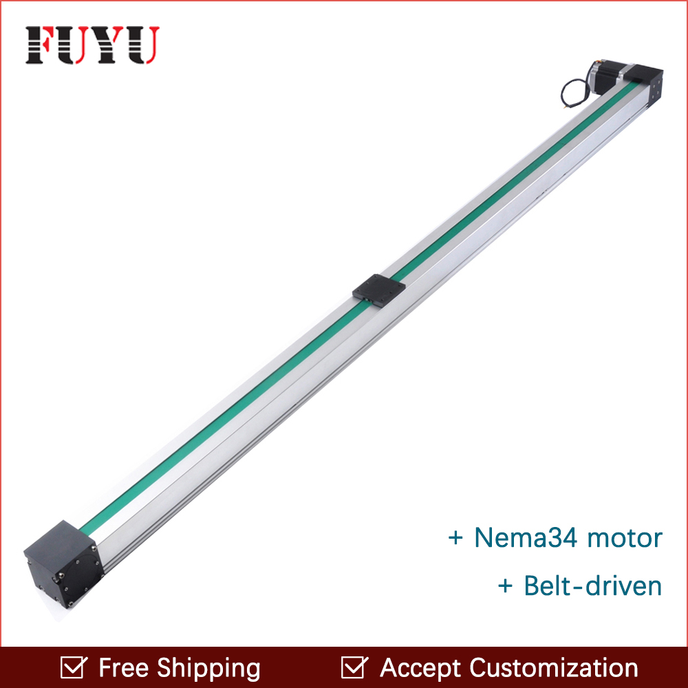 Free shipping high speed 1500mm belt drive linear guide rail Nema 34 stepper motor for cnc position router system free shipping by express dsp0501 control system for cnc router