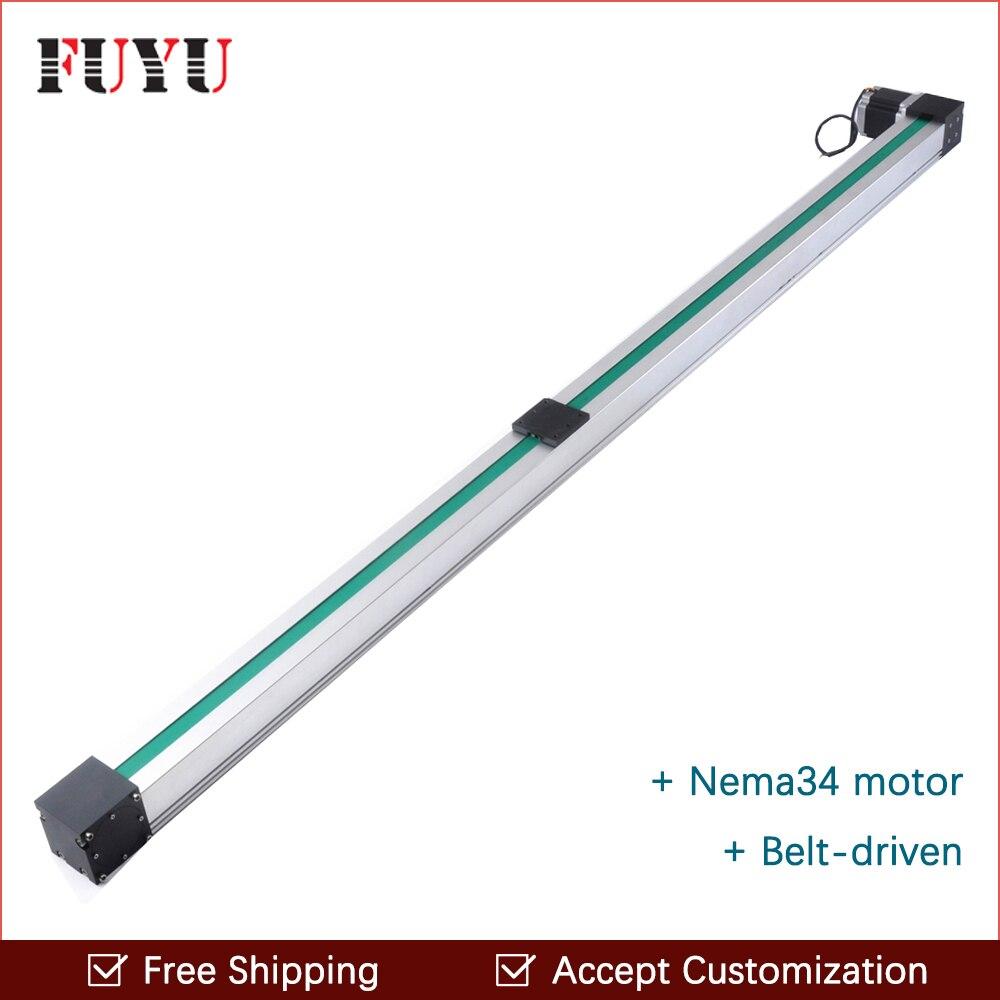 Livraison gratuite haute vitesse 1500mm courroie linéaire rail de guidage Nema 34 moteur pas à pas pour cnc position routeur système