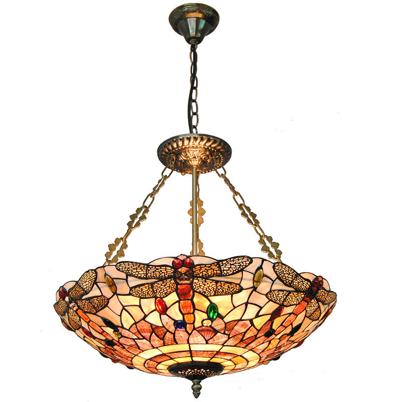 20 Tiffany Shell Pendant Light Baroque Style Retro Stained Dragonfly Restaurant Living Room Hanging Lamp Lighting Fixture PL710 mediterranean baroque pastoral natural shell pendant light tiffany led seashell pendant lamp for home decor lighting fixture