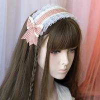 New Fashions Women Hairbands Headwears Lolita Sweet Lace Plaid Headbands Hair Bands for Girls Wide Big Bow Hair Hoop Accessories