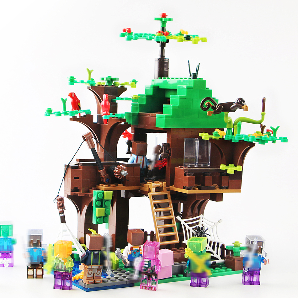 443pcs Island Forest House Model Building Blocks Compatible Legoed Minecrafted city DIY dragon Figures brick toys for children 1