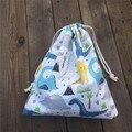 Хлопковая Сумка YILE  1 шт.  с завязками  для вечеринки  Подарочная сумка с принтом динозавра  дерева  белая основа 81120a