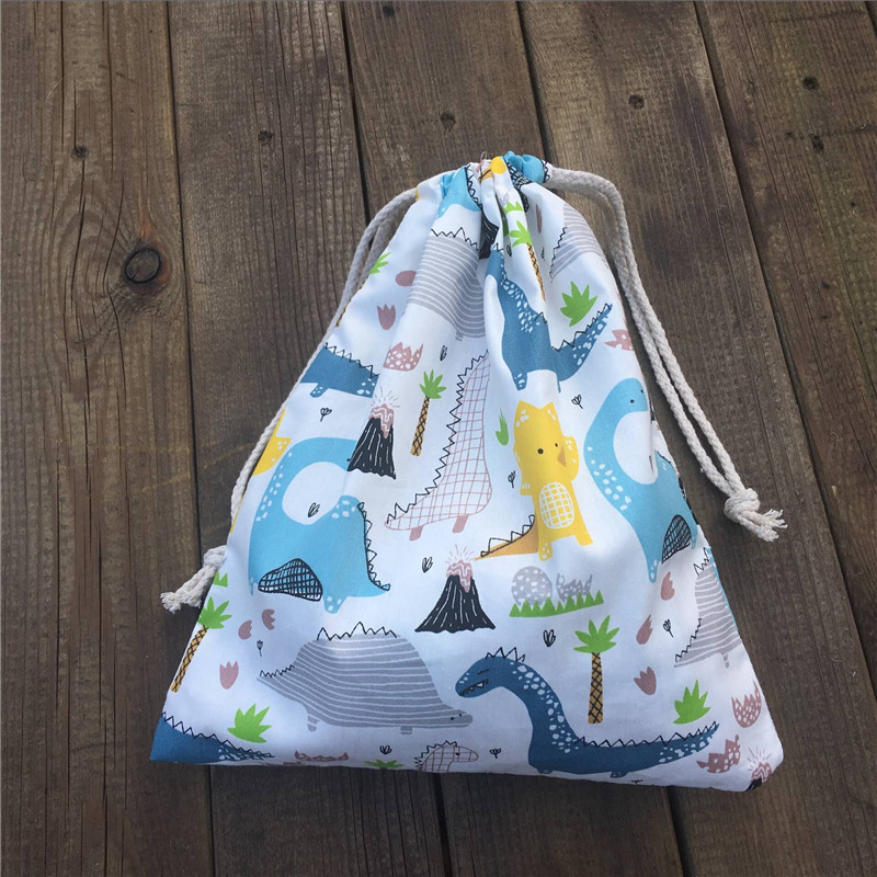 YILE 1pc Cotton Drawstring Sorted Pouch Party Gift Bag Print Dinosaur Tree White Base 81120a