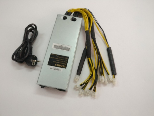 YUNHUI BTC LTC miner power supply 220V 12V 130A MAX OUTPUT 1600W suitable for Antminer L3,L3+,X11 S7 S9 D3 and A4 dominator