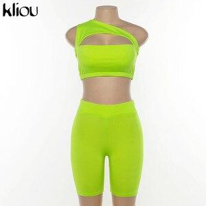 Image 5 - Kliou 2019 yaz kadın neon renk iki adet set kapalı omuz kırpma üst oymak elastik yüksek bel şort kıyafet eşofman