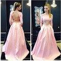 Vestido de festa 2017 Sexy 2 unidades de Baile Vestidos Largos De Color Rosa Satén Moldeado Backless Formal de Los Vestidos de Noche Con El Tren de barrido