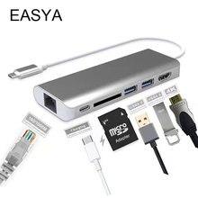 EASYA Tipo C Hub USB Al Adaptador de HDMI Adaptador de Ethernet RJ45 1000 Mbps Lector de Tarjetas SD USB Thunderbolt C Hub 3.0 PD Para MacBook Pro