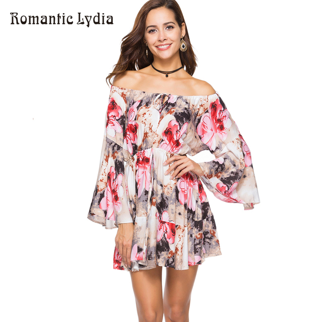 a320bc67c829 2018 Women Boho Summer Mini Short Dresses Floral Loose Ruffle Bohemian Sexy Off  Shoulder Dress Plus Size