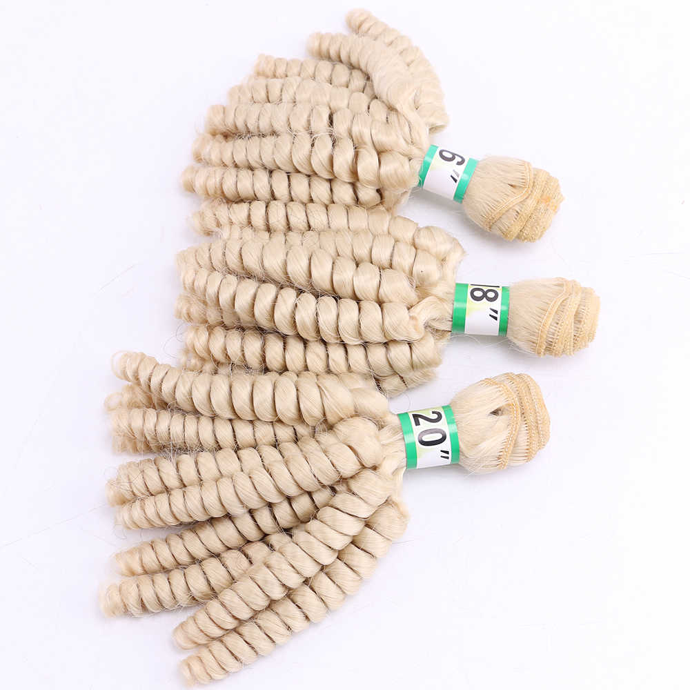 3 pieces one set Funmi Curly hair extension 16 18 20 inches 613# Hair Bundles High temperature synthetic hair weft hair weaving