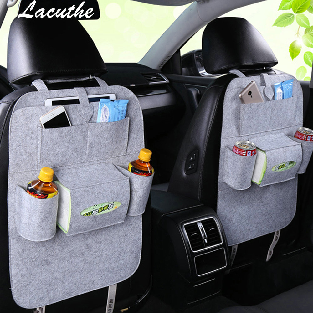 Car Storage Bag Universal Back Seat Organizer Box Felt Covers Backseat Holder Multi-Pockets Container Stowing Tidying Styling genuine leather car storage bag organizer universal back seat bags backseat trunk travel holder box pockets protector for kids