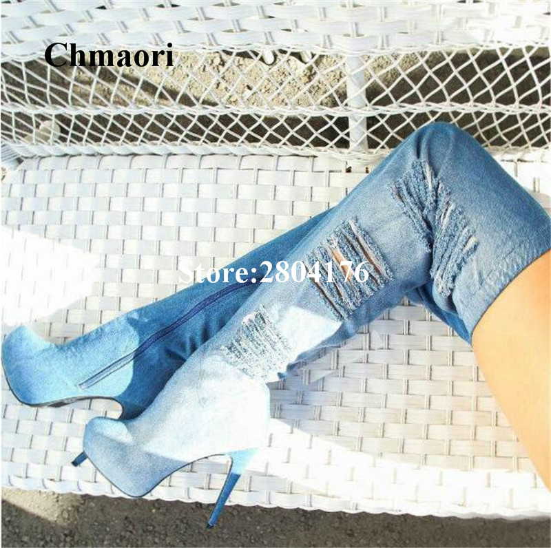 Chmaori 2018 Over The Knee Long Boots Thin Heel Thigh High Feminina Botas Solid Denim Pointed Round Zip Super High Heel Boots Chmaori 2018 Over The Knee Long Boots Thin Heel Thigh High Feminina Botas Solid Denim Pointed Round Zip Super High Heel Boots