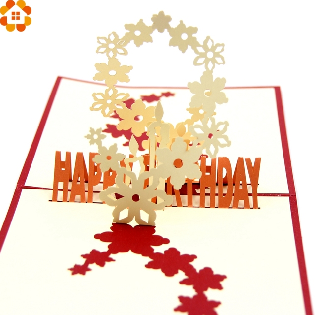 1pc 3d cherry blossoms happy birthday cards laser cut folding greetinginvitation card kids birthday