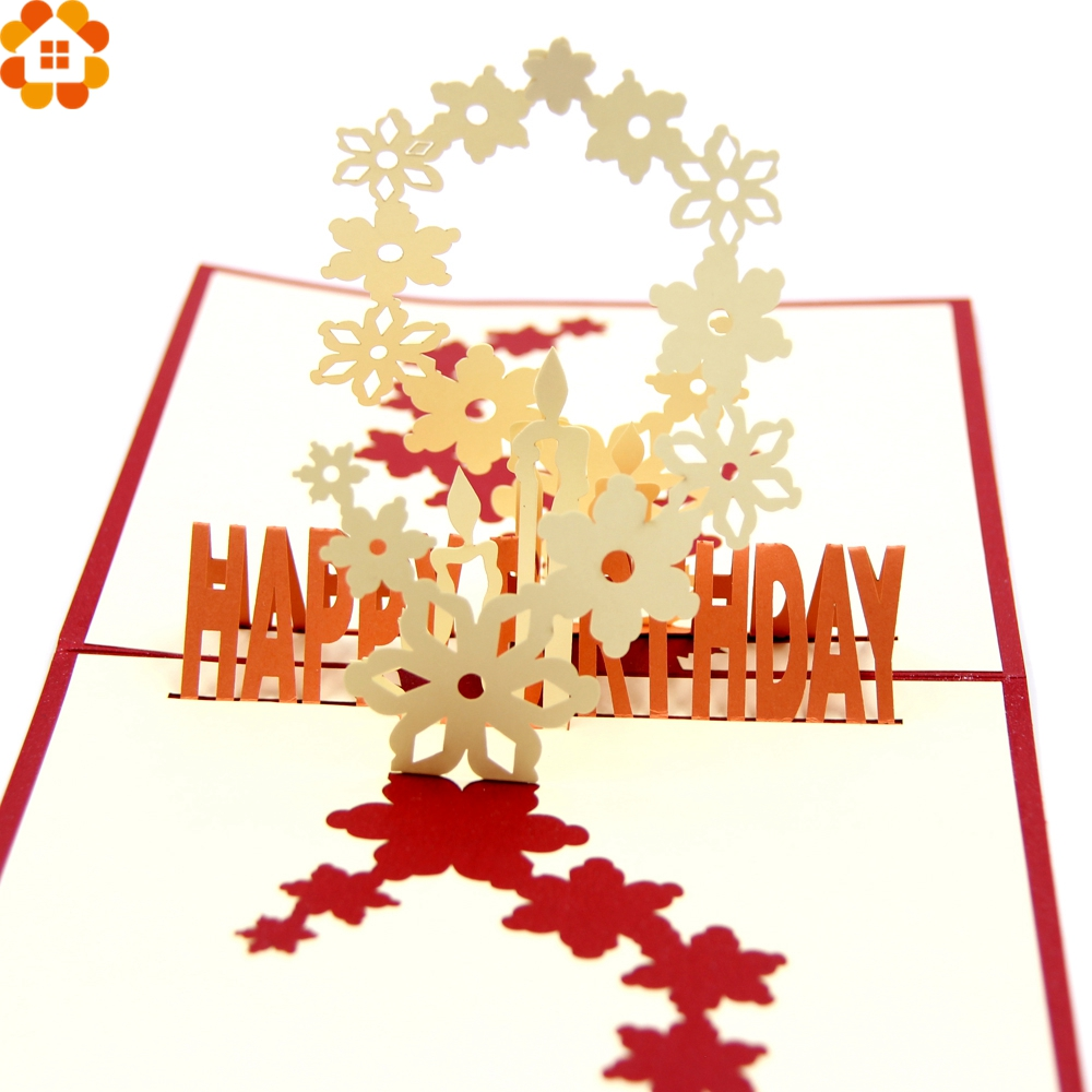1PC 3D Cherry Blossoms Happy Birthday Cards Laser Cut Folding Greeting/Invitation Card Kids Birthday Party Decoration Toys Gifts