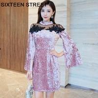 European Fashion pink Velvet dress woman cloak sleeve Flannel mesh patchwork slim New spring autumn mini dresses boydcon female