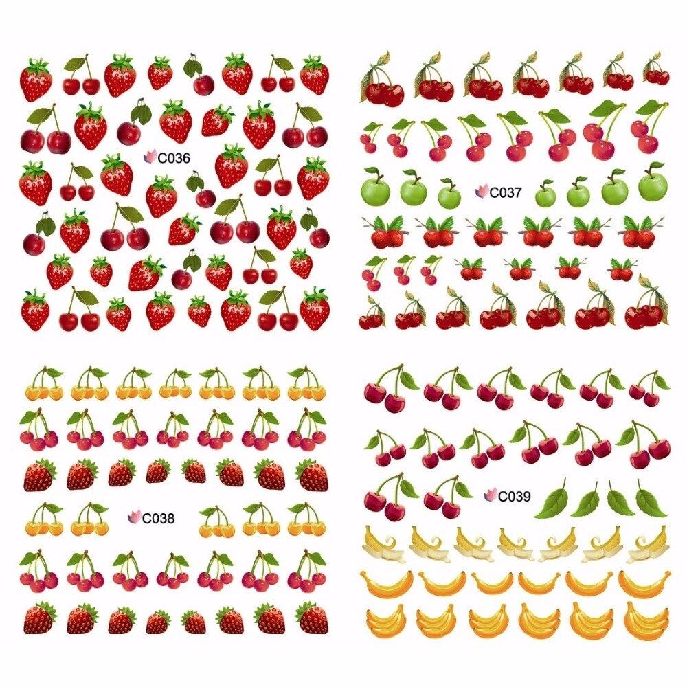 4 PACKS / LOT FULL COVER FRUIT BANANA STRAWBERRY CHERRY NAIL TATTOOS STICKER WATER DECAL NAIL ART C036-039 simulation banana apple strawberry shape squishy toys