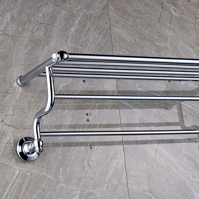 Aliexpress Luxury Bathroom Bath Towel Rack Double Bar Chrome Finish Holder Wall Mounted From Reliable Suppliers