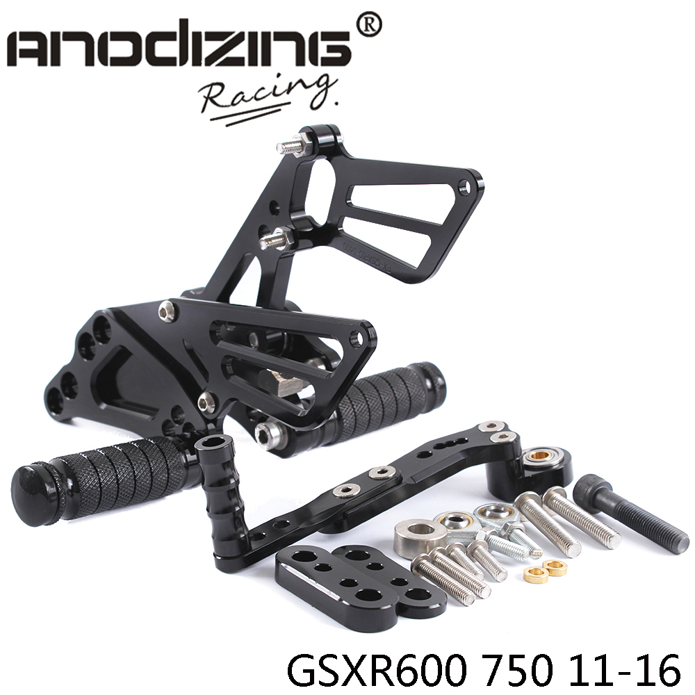 ФОТО Full CNC aluminum Motorcycle Rearsets Rear Set For SUZUKI GSXR600/750 2011-2016