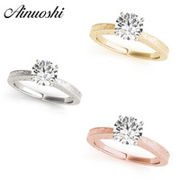 AINUOSHI 925 Silver White Gold Yellow Gold Rose Gold Color Round Cut 1ct Solitaire Bridal Lovely Rings Engagement Silver Rings