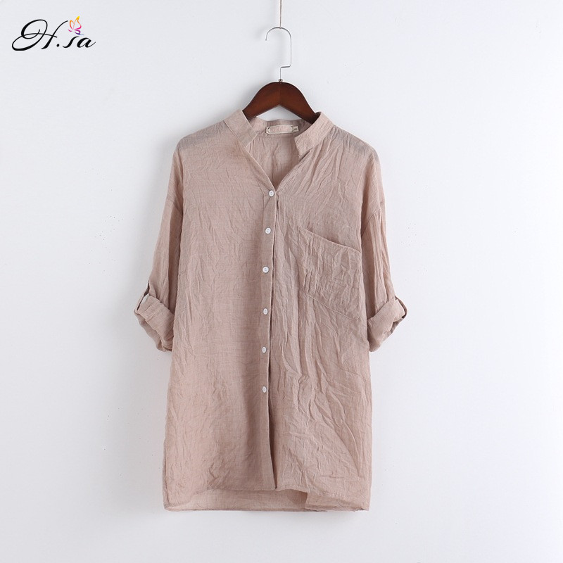 H Sa 2017 Women Shirts Blouses Long Sleeve Solid Ladies