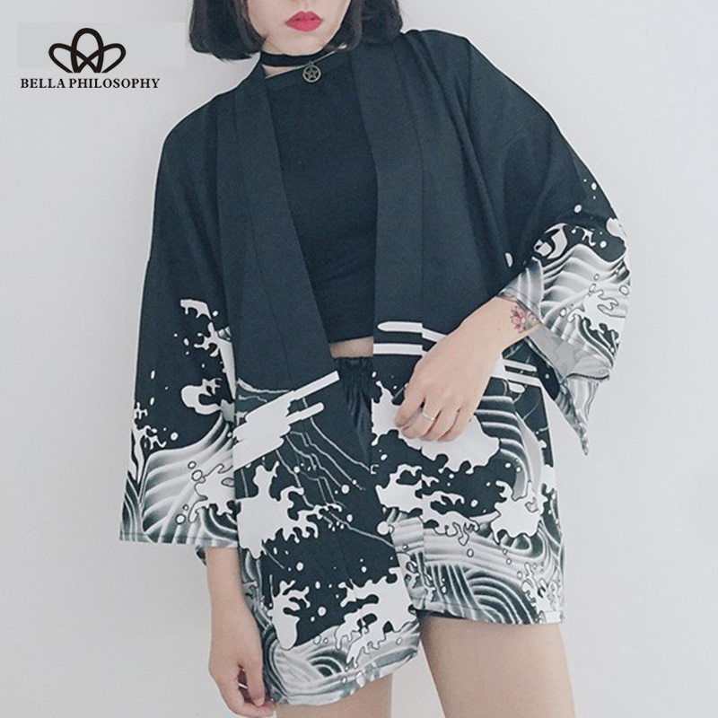 Bella Philosophy Japan style print vintage Harajuku Style Blouse Waves and Wind Dragon Shirts Japanese batwing sleeve kimono блузка с драконом