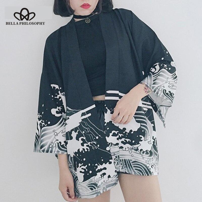Bella Philosophy Japan style print vintage Harajuku Style   Blouse   Waves and Wind Dragon   Shirts   Japanese batwing sleeve kimono