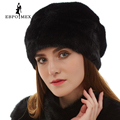 Best seller mink fur hats Genuine Leather real mink fur hat for winter women russian fur hat Fashion Warm winter Black fur hats