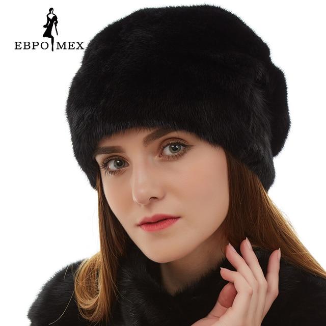 Best seller mink fur hats Genuine Leather real mink fur hat for winter women russian fur hat Fashion Warm winter Black fur hats