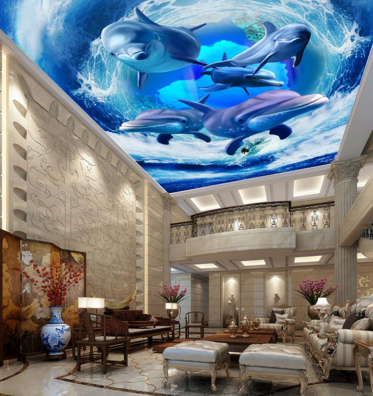 Environmentally Friendly 3D Ceiling Murals Wallpaper Custom Waves Dolphins Restaurant Wall paper Ceiling Wallpapers Living Room blue earth cosmic sky zenith living room ceiling murals 3d wallpaper the living room bedroom study paper 3d wallpaper