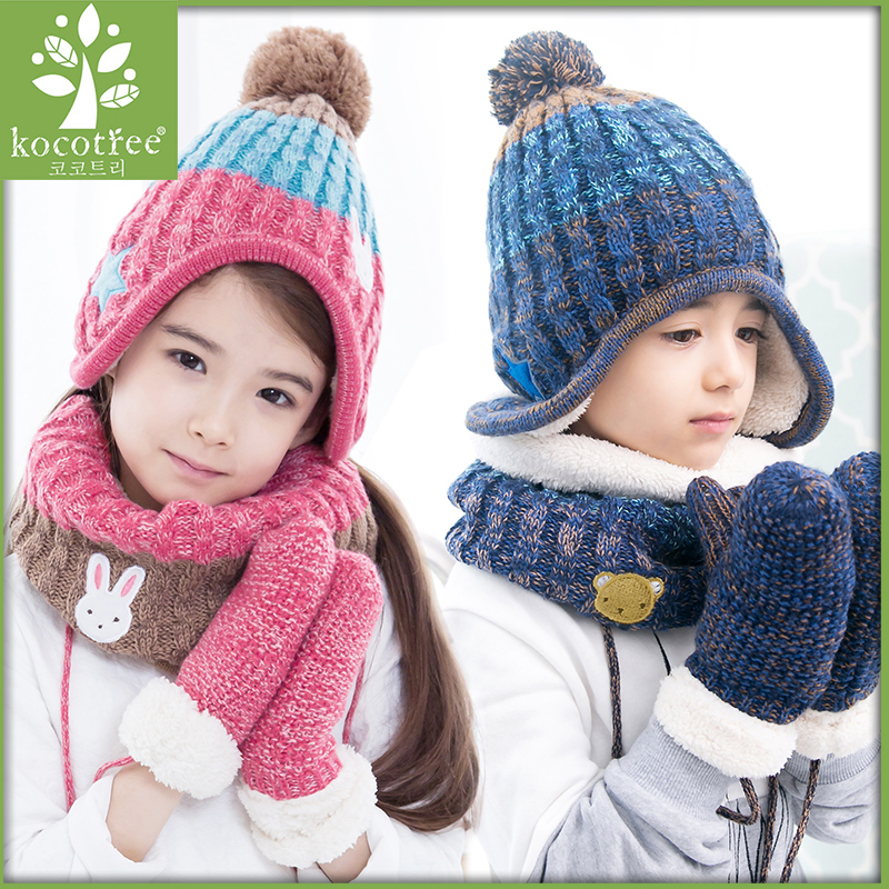 Children's autumn winter warm hat, cartoon five pointed star color cap unisex  cotton  Three sets of scarf gloves a new set of head cap cotton scarf dual purpose male and female geometric pattern of baotou hat