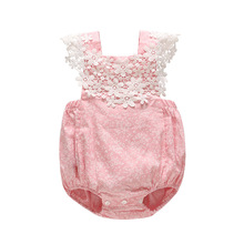 New Born Baby Clothes 2019 Summer Printed Flower Rompers Girls Sleeveless Body Suit Sweet Cute Lace Thin Straps Jumpsuit