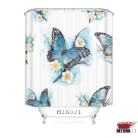 MIAOJI Morning Mist Flowers Blue Butterflies Printed Polyester Bathroom Shower Curtain With Hooks Free Shipping