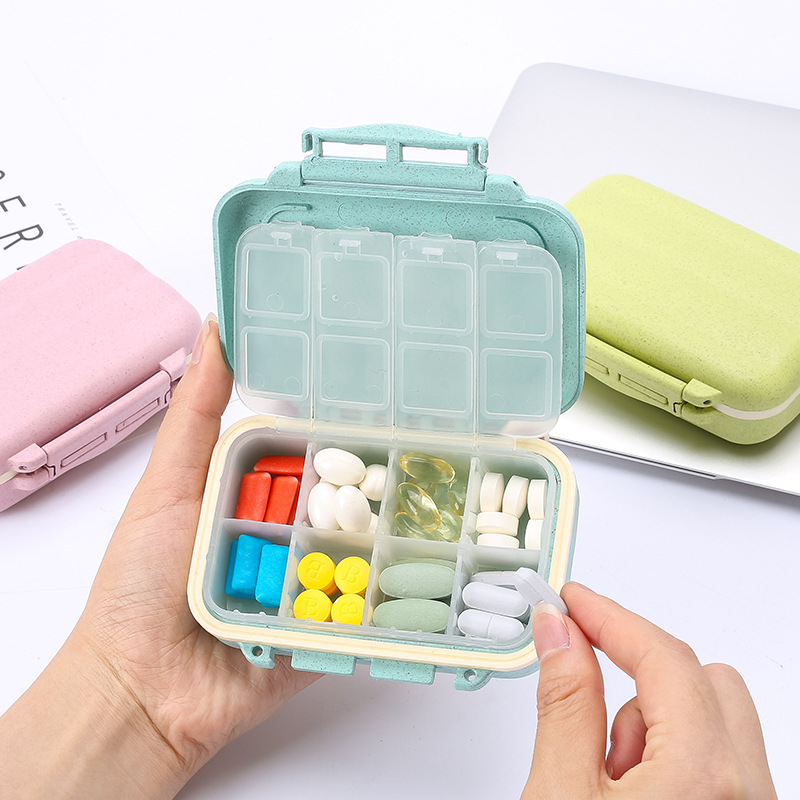 8 Slot Maitalen Medical Kit Portable Rotation Pillbox Travel Pill Case Medicine Storage Box Waterproof Drugs Pill Container
