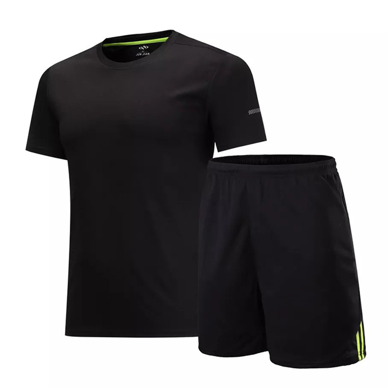 Mens Gym Sportswear Short Sleeve Sports Running Suit Men Kits Dry Fit Training Soccer Jersey Suits Shorts and T-shirts