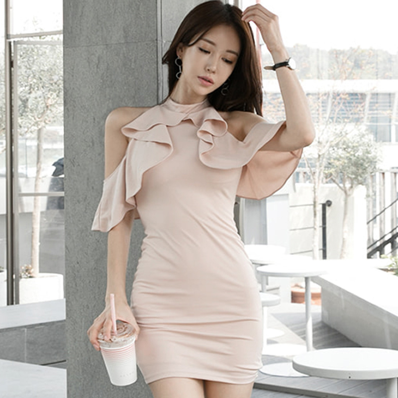2018 Summer Women O-Neck Cloth Halter Ruffles Sleeveless Mini Bodycon Sexy Solid Club Dress