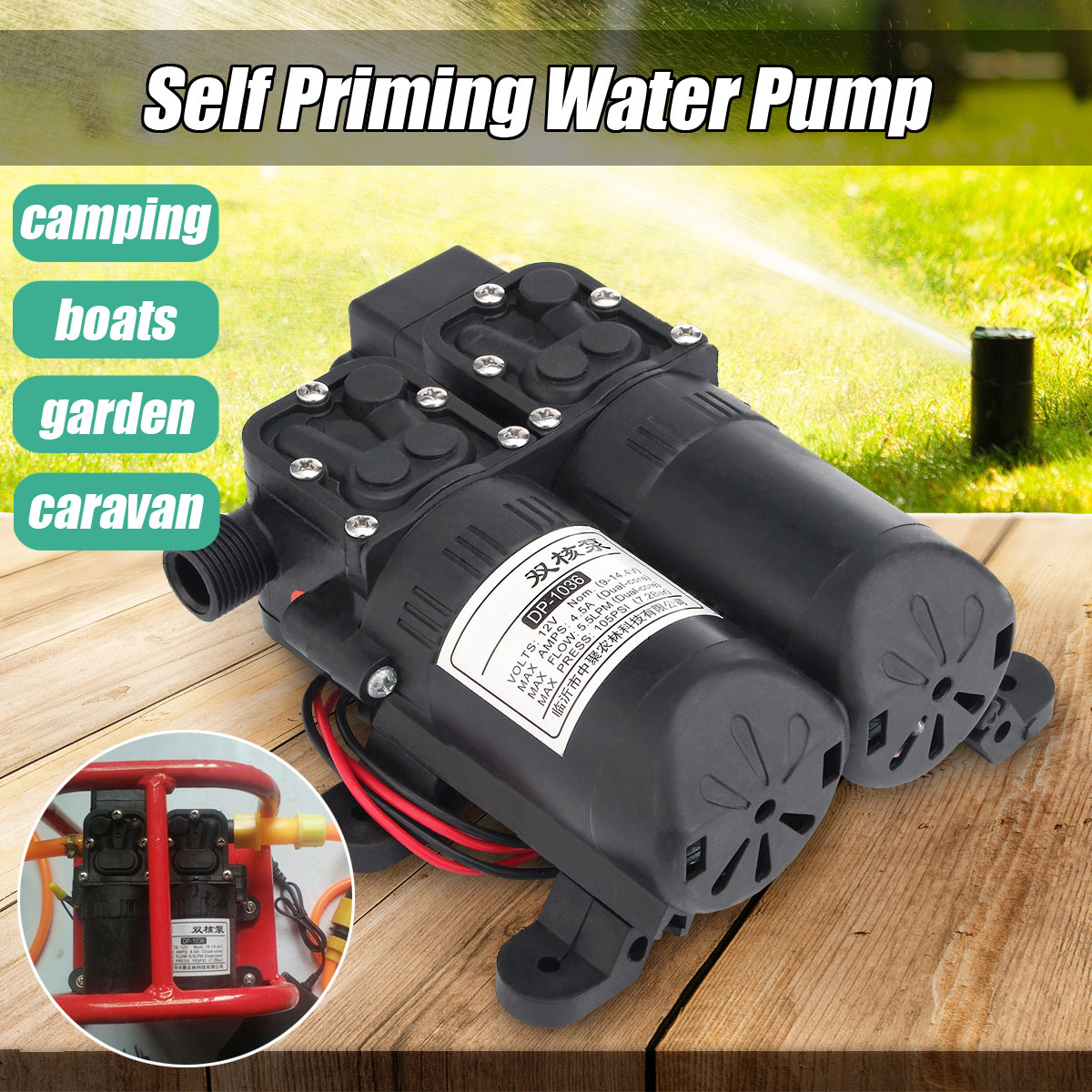 12V Dual Electric Motor 5.5LPM 105PSI High Pressure Self Priming Diaphragm Water Pump For Home Garden Boat Caravan Marine Pump