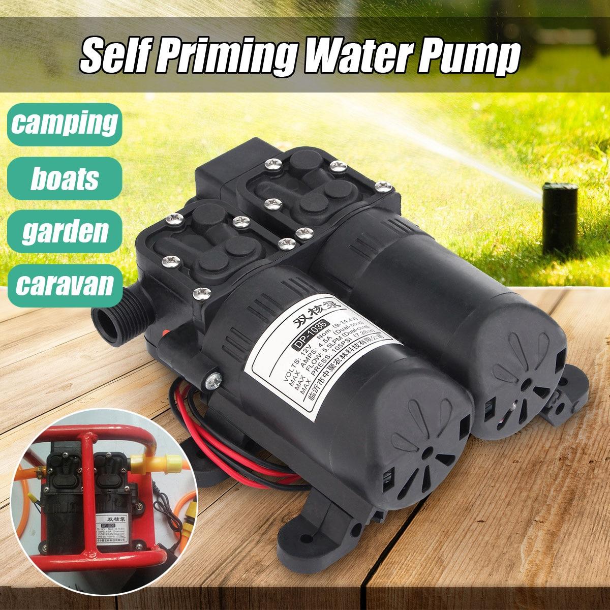 все цены на 12V Dual Electric Motor 5.5LPM 105PSI High Pressure Self Priming Diaphragm Water Pump For Home Garden Boat Caravan Marine Pump онлайн