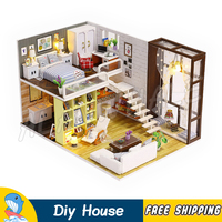 Miniature Doll House Modern City Room DIY Unisex Wooden Dollhouse With Furnitures Adult Teenager Toys Model Building Gifts Sets