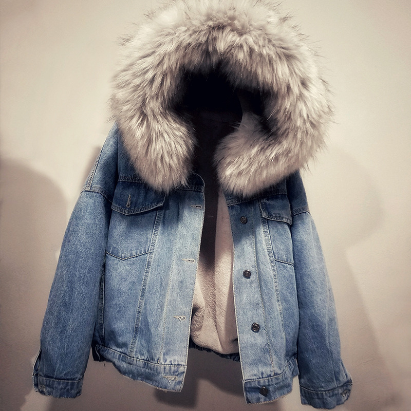 Winter Thickening Basic Jeans Coat Women 2018   Parka   Fleece Faux Fur Collar Hooded Long Denim Outerwear Lamb Wool Short Coat