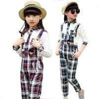 Bebek kız giyim seti çocuk nedensel Tulum Çocuk Giysileri bebek kız dış giyim pantolon 3-13 Y için bahar sonbahar jartiyer gömlek