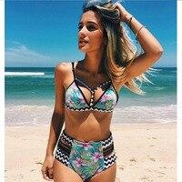 2017 New Bikinis High Waist Swimsuit Women Push Up Swimwear Women Sexy Print Brazilian Bikini Set