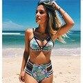 2017 nuevos bikinis de cintura alta traje de baño de las mujeres empuja hacia arriba el traje de baño mujeres Imprimir Sexy Bikini Brasileño Set de Playa Trajes de Baño de Natación desgaste
