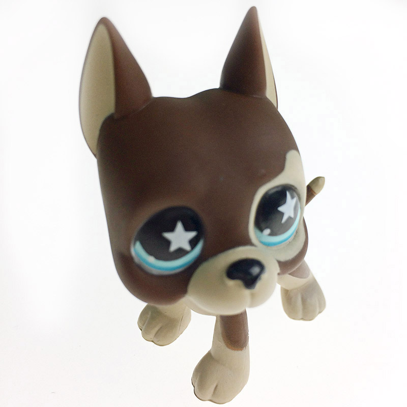 LPS GREAT DANE #0159 brown dog star eyes Rare old collections figure Christmas gifts toys Free Delivery 6cm pet shop toys great dane 2598 green eyes pink dog dane child loose cute puppy
