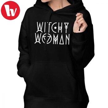 d094fae78 Moletom Com Capuz Hoodies Mulher Witchy mulher Bruxa Simples Street wear  Hoodies Cinza de Algodão Mulheres da Longo-luva Impresso Pulôver