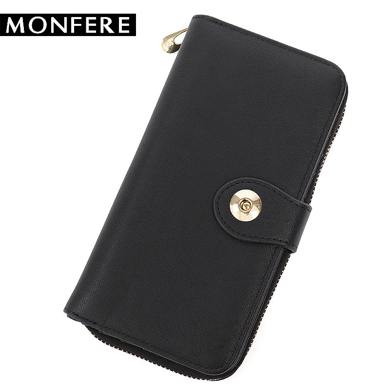 MONFERE New Women Long Wallet High Quality PU leather bag Female Zipper Clutch Multi Pockets Card Holder solid Cell Phone Purses