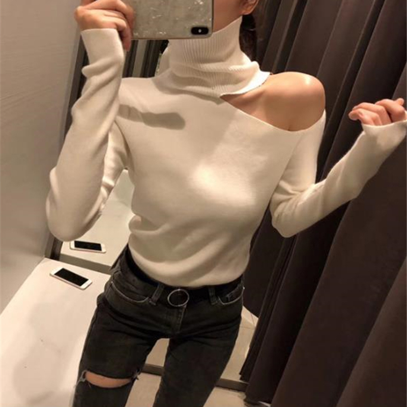 Knitted Sweater Off Shoulder Pullovers Sweater for Women Long Sleeve Turtleneck Female Jumper Black White Sexy Clothing New 2020(China)