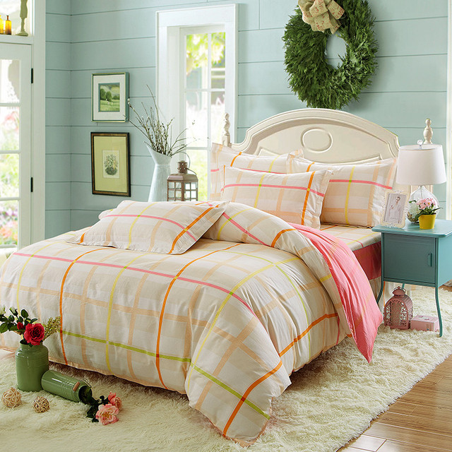 Cotton Red Large Grid Pattern Simple And Elegant For S To Use Bedding 4 Pcs Sheets Bedspread Pillowcases Comfortable